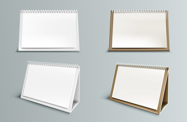 Calendar  with blank pages and spiral. desktop horizontal paper calendar front and side view isolated Free Vector