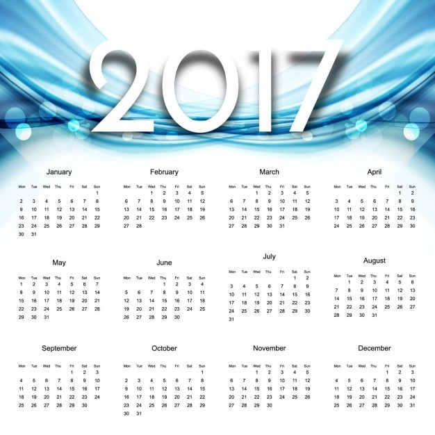 Calendar with blue wavy shapes Free Vector