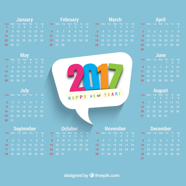 Calendar with colored 2017 speech bubble Free Vector