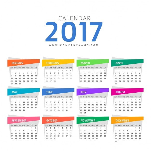 Calendar with different colors Free Vector