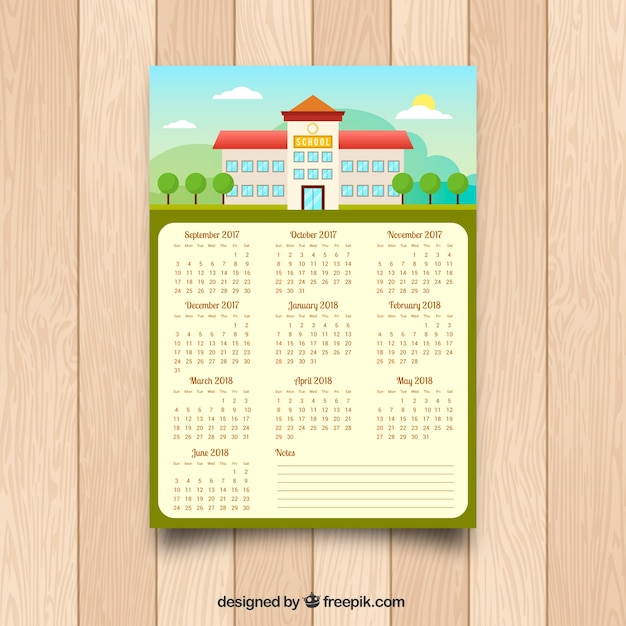 Calendar with facade of school in flat design