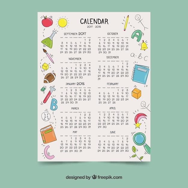 Calendar with hand painted school elements