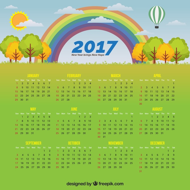 Calendario Rainbow.Calendar With A Landscape And A Rainbow Vector Free Download