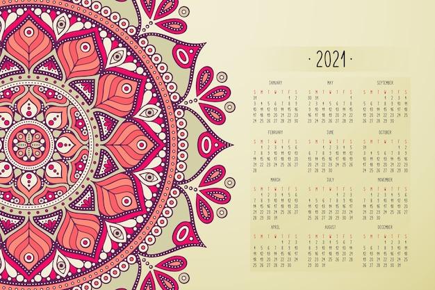 Calendar with mandalas dark style ornament Premium Vector