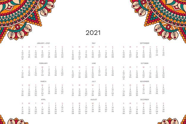 Calendario con mandala. Vettore gratuito