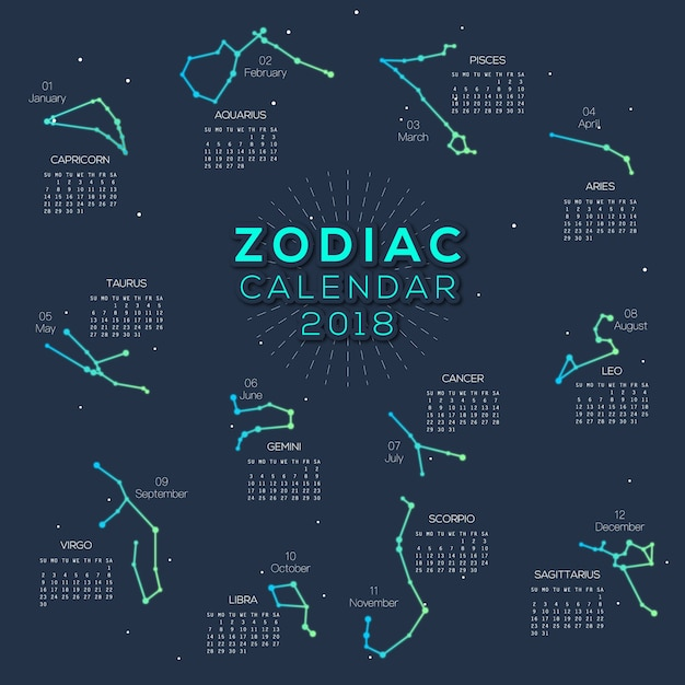 Calendar Design Zodiac : Calendar zodiac smart design vector premium download