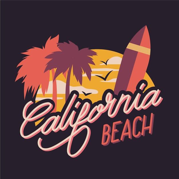 カリフォルニアのビーチシティレタリング 無料ベクター