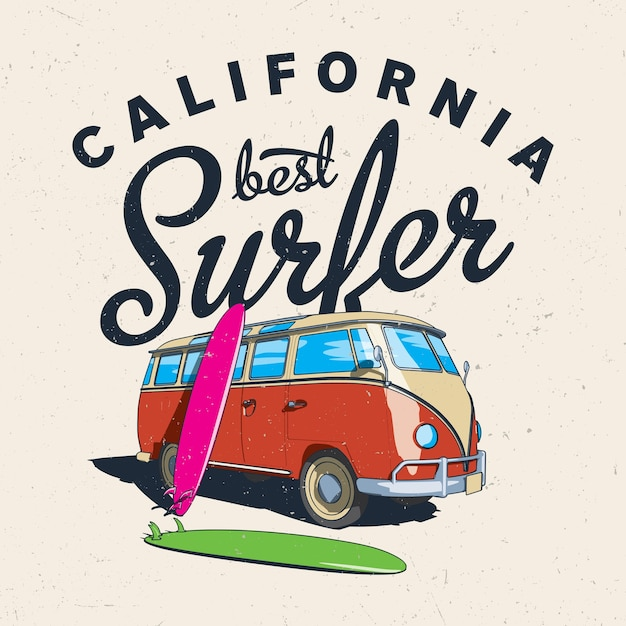 California best surfer poster with bus and board on effective illustration Free Vector