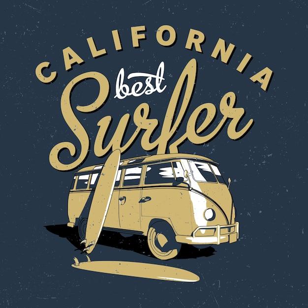Poster del miglior surfista della california Vettore gratuito