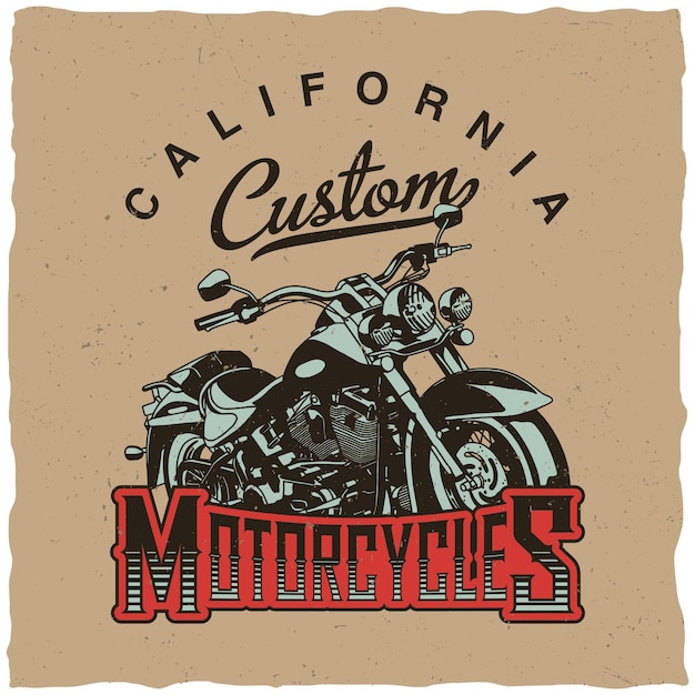 California custom motorcycles poster with bike for t-shirts and greeting cards Free Vector