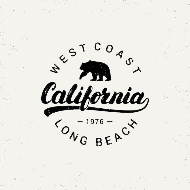 California hand written lettering with bear. Premium Vector