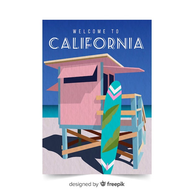 カリフォルニア州のプロモーションポスターテンプレート 無料ベクター