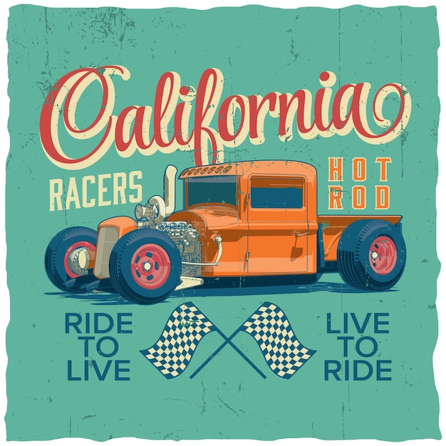 California racers poster with design for t-shirt and greeting cards Free Vector