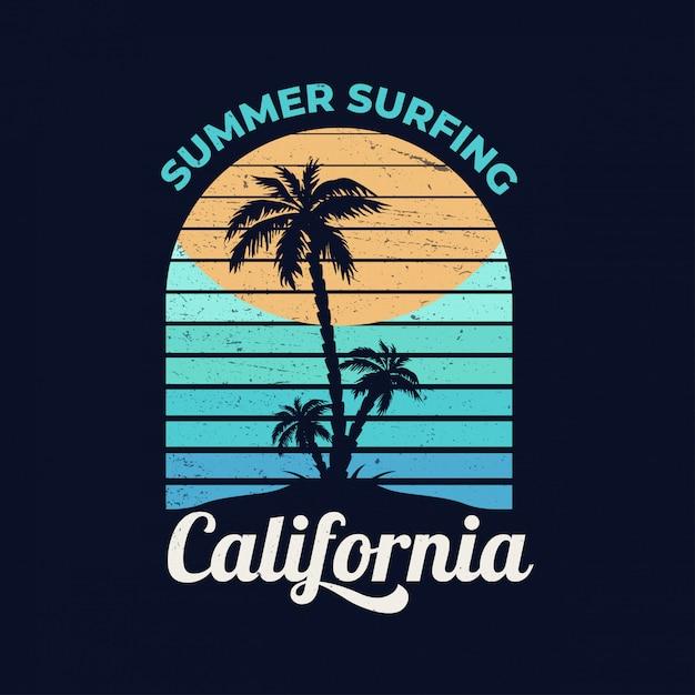 カリフォルニア。夏のサーフィン。 Premiumベクター