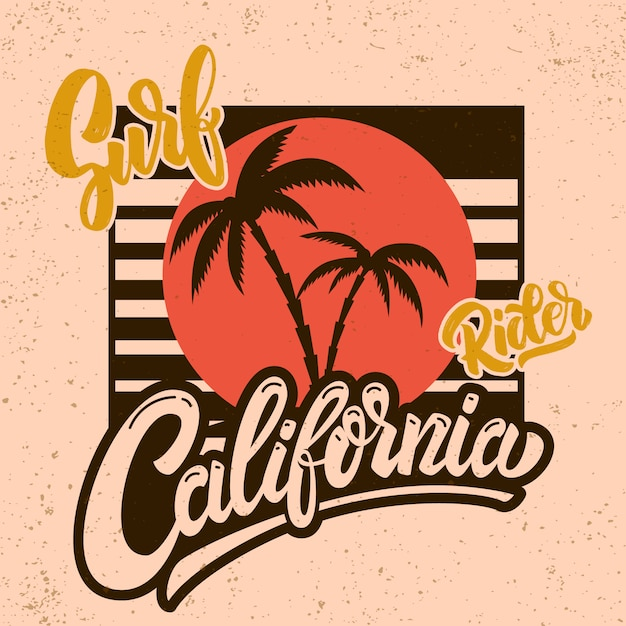 California surf rider. poster template with lettering and palms.  image Premium Vector