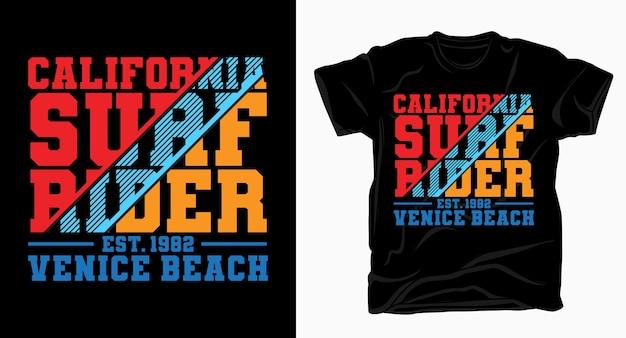 Калифорнийский серфинг райдер венецианский пляж типографский дизайн для футболки Premium векторы