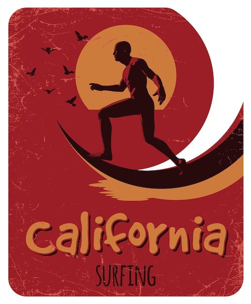 Poster di surf in california con design di etichette per t-shirt e biglietti di auguri Vettore gratuito