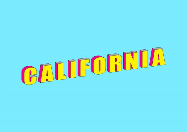 California text with 3d isometric effect Premium Vector