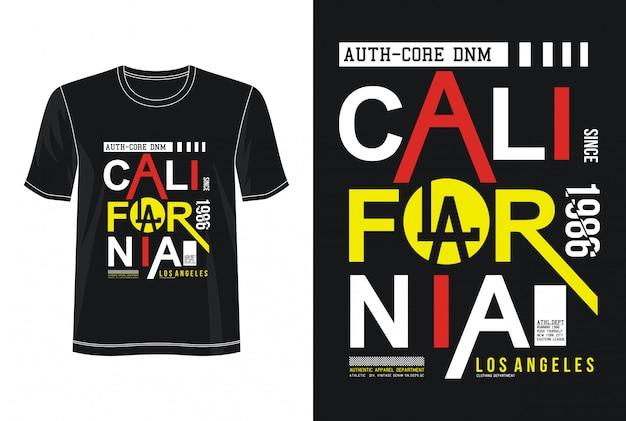 Калифорнийская футболка с типографским дизайном Premium векторы
