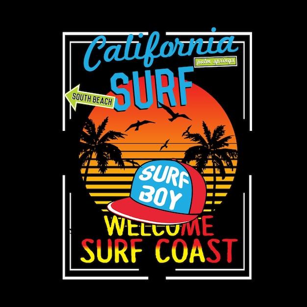 California typography t shirt vector Premium Vector