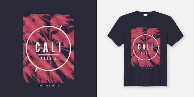 様式化されたヤシの木とカリフォルニアのベクトルtシャツ。グローバル見本。 Premiumベクター