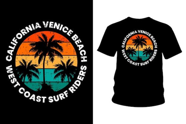 Калифорния венеция пляж текст футболка типографика дизайн Premium векторы