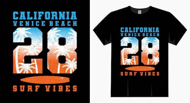 Футболка с типографикой california venice beach 28 surf vibe Premium векторы