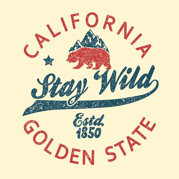 캘리포니아 빈티지 타이포그래피, 그리즐리 베어 그런지 인쇄, 티셔츠 디자인. 골든 스테이트 의류 상징. 프리미엄 벡터