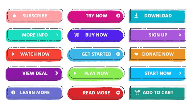 Call to action button. read more, subscribe and buy now web buttons with vivid colors and grunge textures flat isolated  set Premium Vector