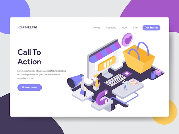 Call to action isometric illustration for web pages Premium Vector