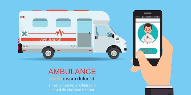 Call ambulance car via mobile phone. Premium Vector