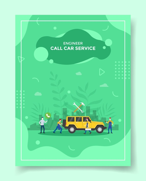 チラシのテンプレートについては、自動車整備士の周りの電話を使用して自動車サービスの人々に電話してください Premiumベクター