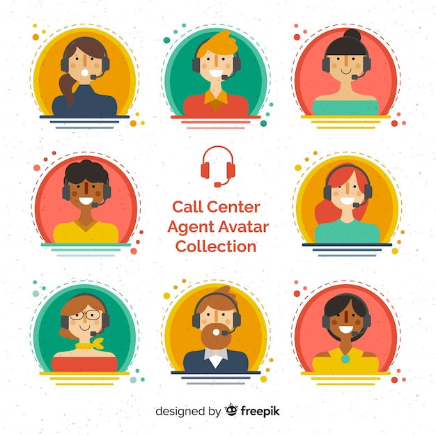 Call center agent avatar collection with flat design Vector