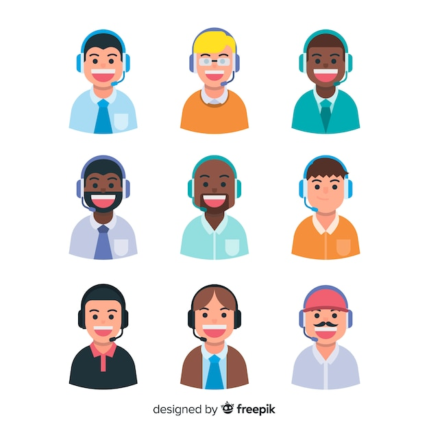 Call center agent avatar collection with flat design Free Vector