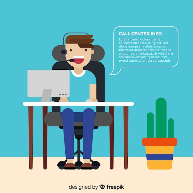 Call center assistant helping customers Free Vector