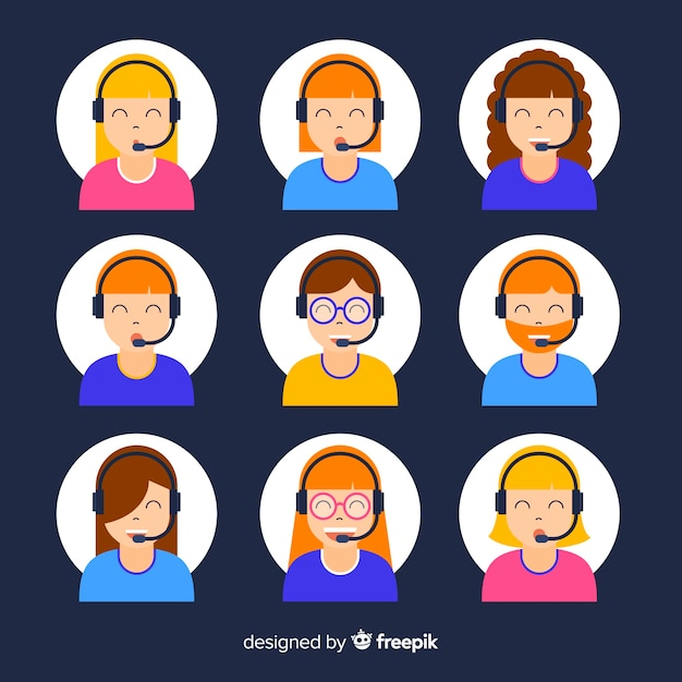 Call center avatar sample Vector | Free Download