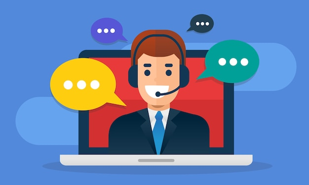 Call center avatar wearing headset  on screen laptop with buble message. Premium Vector
