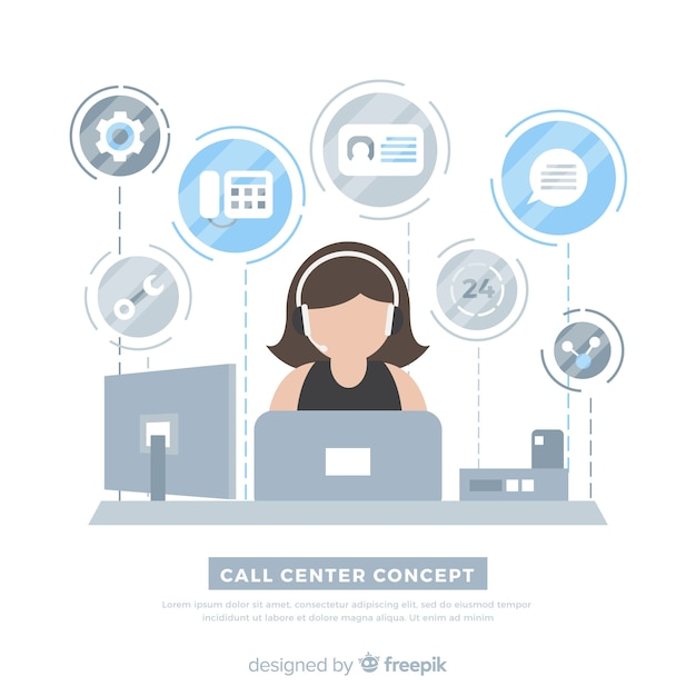 Call center background flat design Free Vector