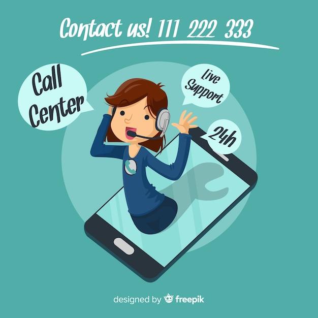 Call center banner Free Vector