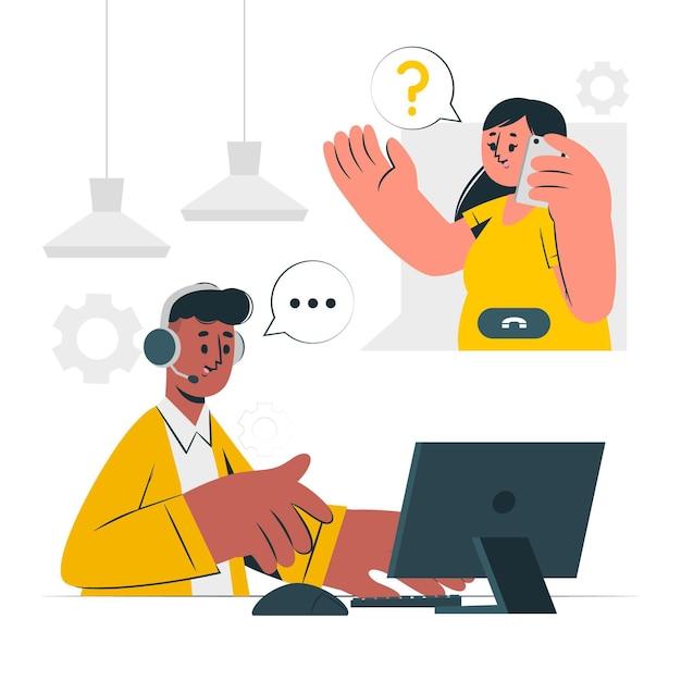Illustrazione di concetto di call center Vettore gratuito