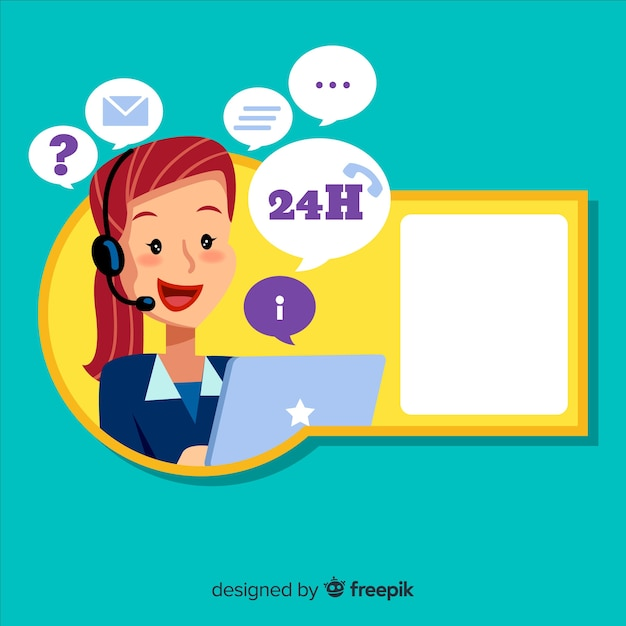Call center concept with woman Free Vector
