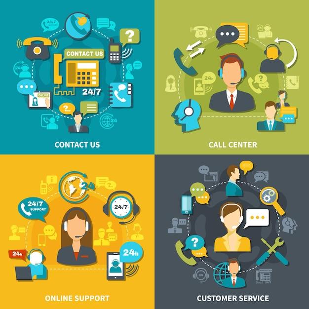 Концепция дизайна call-центра с обслуживанием клиентов, онлайн-поддержка 24/7, свяжитесь с нами изолированно Бесплатные векторы