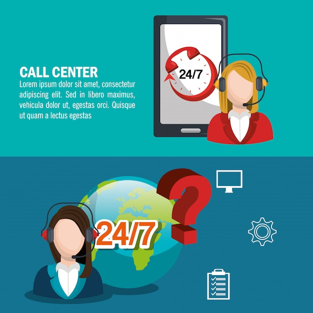 Call center design Free Vector