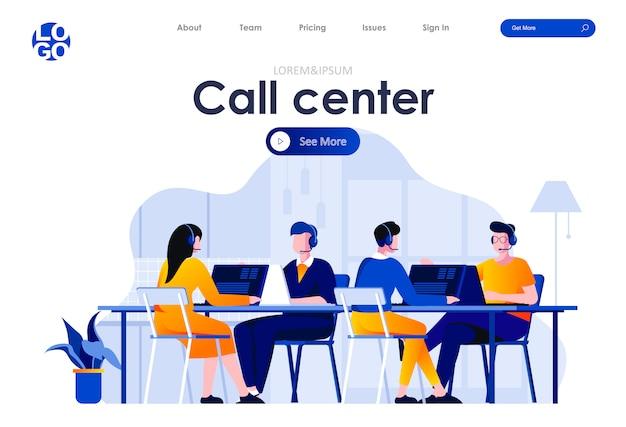 Call center flat landing page design web template Premium Vector