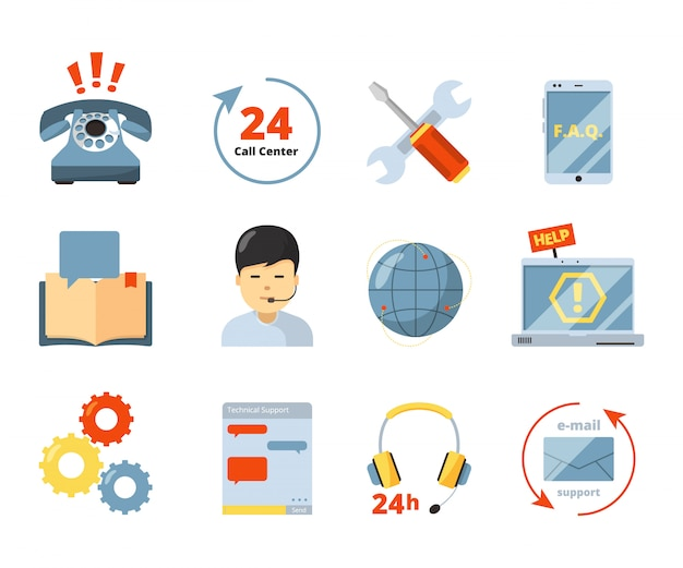 Call center icon. service 24h support help office managers consultants computer admin in headset  isolated symbols Premium Vector