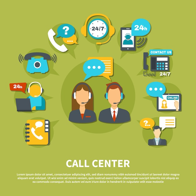 Call center illustration Free Vector