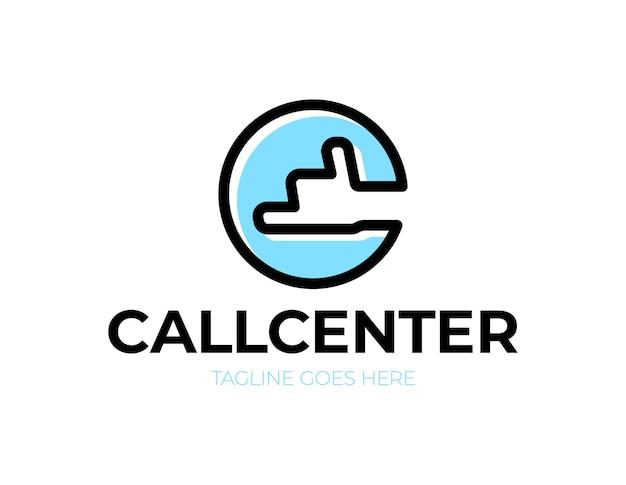 손 전화 로고가있는 콜 센터 문자 C 프리미엄 벡터