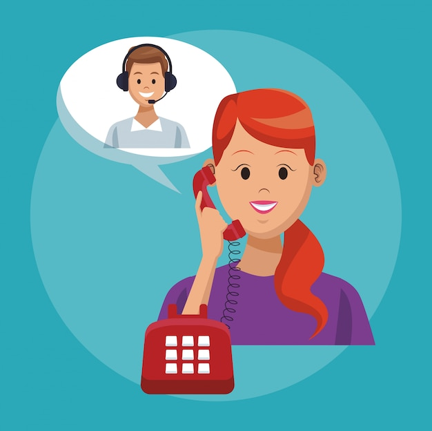 Call center line service Premium Vector