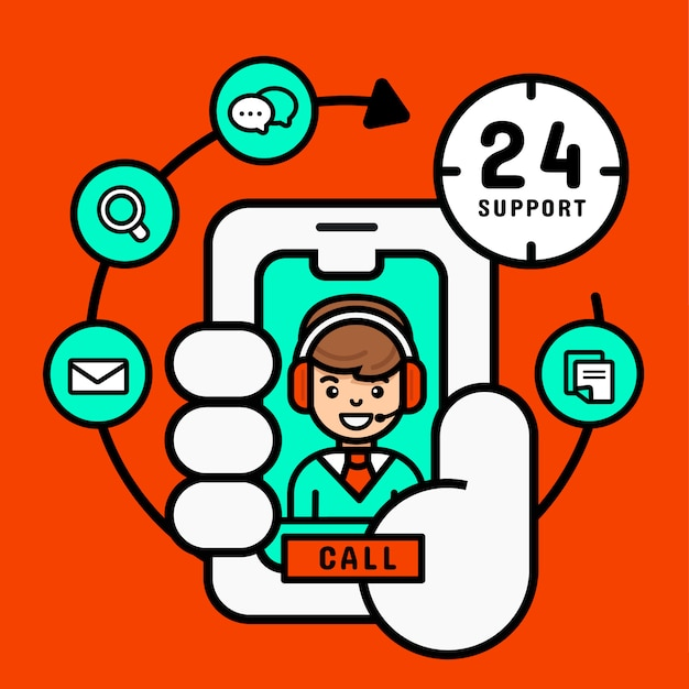 Call center on mobile concept, customer service support from mobile for business,  modern  vector illustration Premium Vector