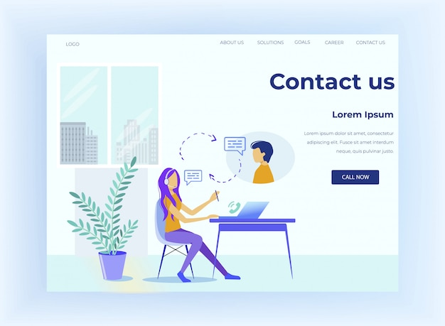 Call center offers customer service landing page Premium Vector